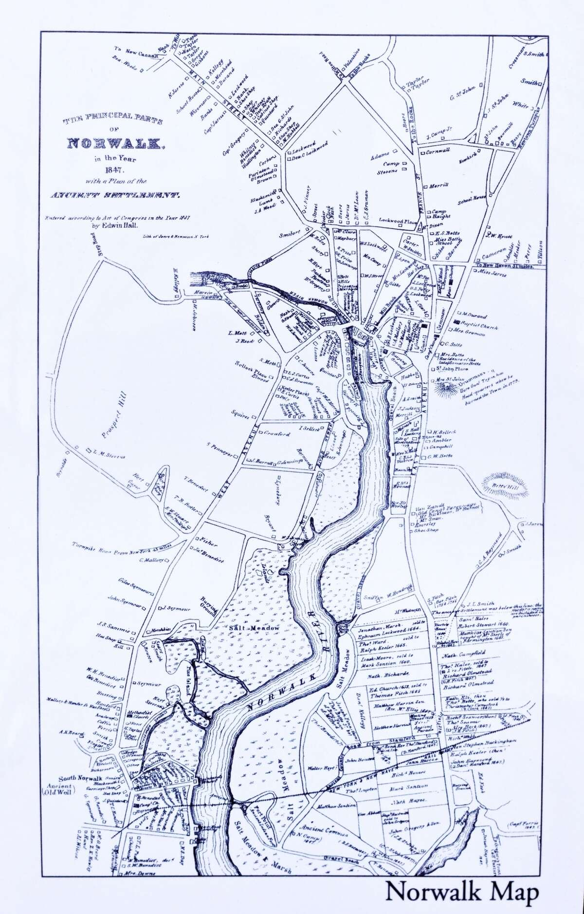 A map of Norwalk from 1847.