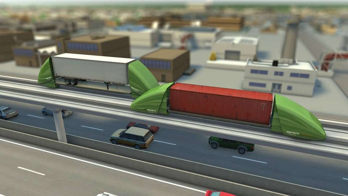 Freight conveyors proposed by Freight Shuttle International are designed to move containers and trailers on elevated lanes. Houston is eyed as one of the first test cities.