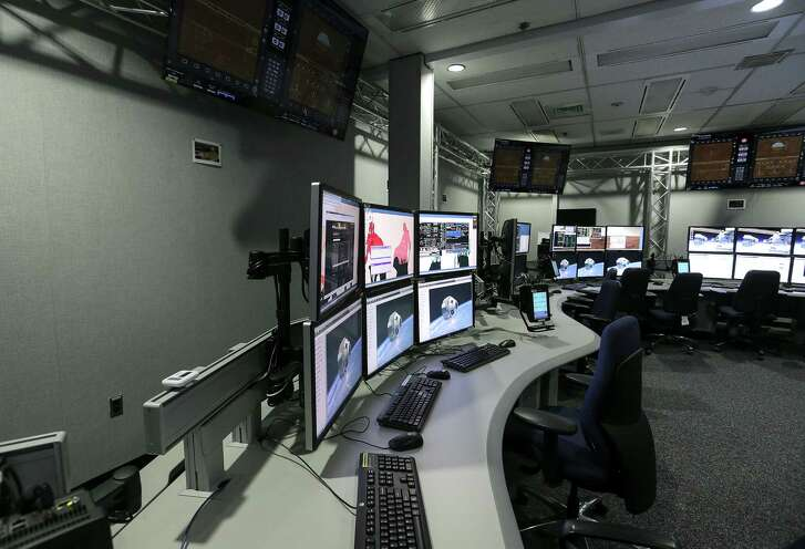 """The """"bridge"""" simulation area for the Boeing CST-100 Starliner at Johnson Space Center on Wednesday, Sept. 28, 2016, in Houston. ( Elizabeth Conley / Houston Chronicle )"""