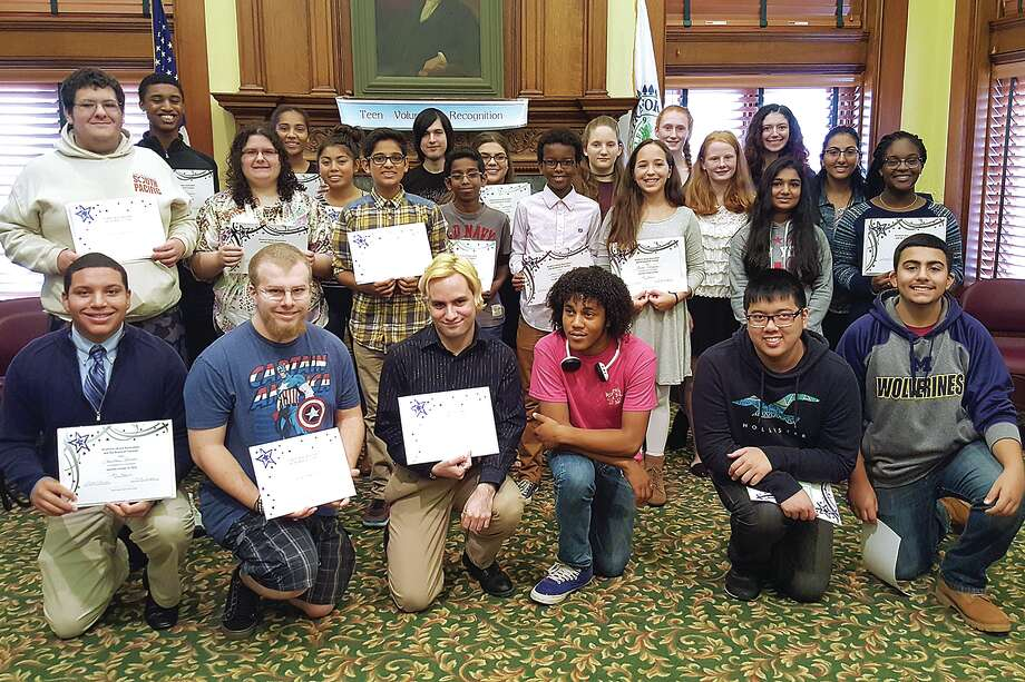 The Stratford Library honored its teen volunteers recently in an annual ceremony that this year celebrated over 3000 volunteer hours. Photo: Submitted By Thomas Holehan