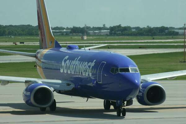 A Southwest Airlines Boeing 737 taxis at Houston's Hobby Airport in May 2016.