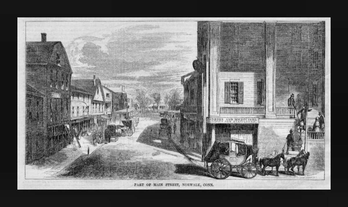 """An engraving of part of Main Street published in """"Ballou's Pictorial"""" in 1855."""