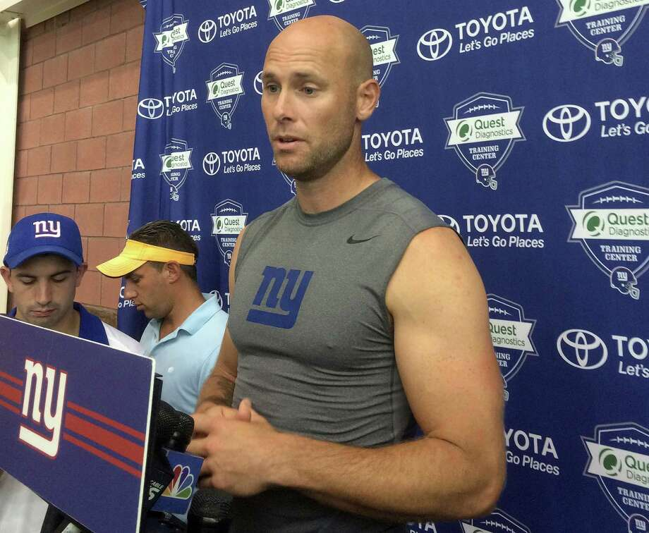 FILE - In this Aug. 18, 2016, file photo, New York Giants kicker Josh Brown speaks with reporters at NFL football training camp, in East Rutherford, N.J. The Giants have released placekicker Josh Brown after police documents revealed Brown had admitted to repeatedly abusing his former wife while they were married. The release came Tuesday, Oct. 25, 2016, shortly after the player issued a statement insisting that he never hit his wife during a six year period when he admits spousal abuse.  (AP Photo/Tom Canavan, File) Photo: Tom Canavan, STF / Copyright 2016 The Associated Press. All rights reserved.