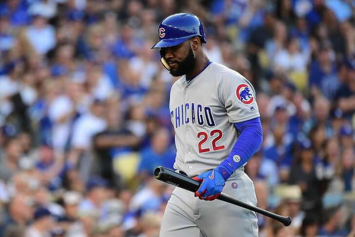 LOS ANGELES, CA - OCTOBER 19:  Jason Heyward #22 of the Chicago Cubs reacts after striking out against the Los Angeles Dodgers in the second inning of game four of the National League Championship Series at Dodger Stadium on October 19, 2016 in Los Angeles, California.  (Photo by Harry How/Getty Images)