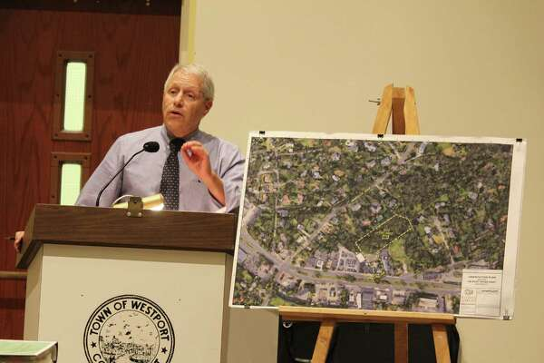 Richard Redniss, developer for 785 Post Road East, responds to questions from the Planning and Zoning Commission at Westport Town Hall on Oct. 20, 2016.