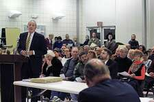 Neighbors packed a Town Plan and Zoning Commission hearing Tuesday about a proposed affordable housing apartment building at the corner of Moritz Place and Black Rock Turnpike. The hearing was continued to November. Fairfield,CT. 10/26/16