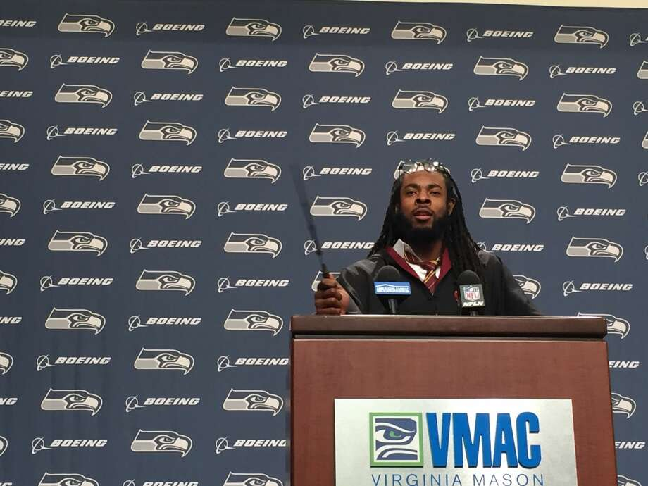 Seahawks cornerback Richard Sherman was in a magical mood after dressing up like Harry Potter for his press conference at the Virginia Mason Athletic Center in Renton on Oct. 26, 2016. Photo: Stephen Cohen/seattlepi.com