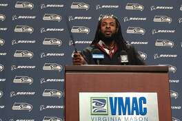 Seahawks cornerback Richard Sherman was in a magical mood after dressing up like Harry Potter for his press conference at the Virginia Mason Athletic Center in Renton on Oct. 26, 2016.