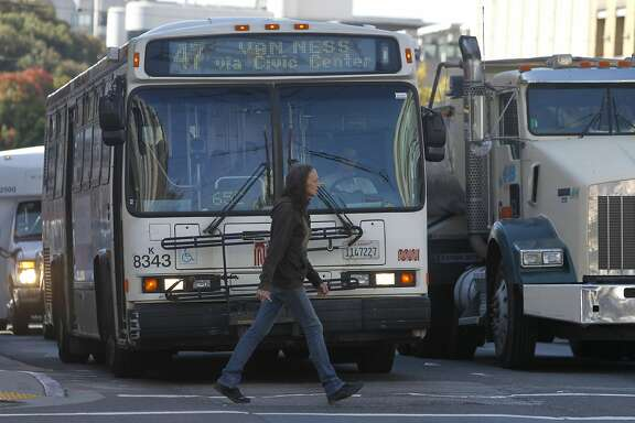 A pedestrian walks past a Muni bus on Van Ness Avenue in San Francisco, Calif. on Thursday, Aug. 27, 2015. Muni is getting ready to roll out a second round of major service improvements systemwide.