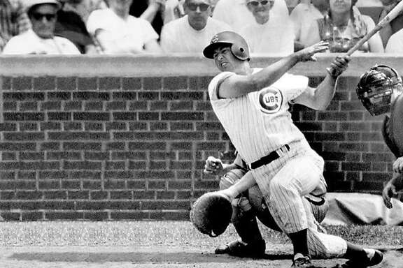 thisoldcub01.JPG  Ron Santo hits one of his 342 home runs during the 1969 season.   copyright This Old Cub, LLC   Ran on: 03-06-2005 Cubs star Ron Santo hit 342 home runs and won five Gold Gloves, leading the National League in assists a record-setting eight times.