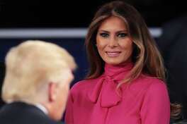 Melania Trump greets her husband, Republican presidential nominee Donald Trump, following his second debate with Democratic nominee Hillary Clinton. A reader says Mrs. Trump is naieve to believe her husband has not been involved in cases of sexual assault.