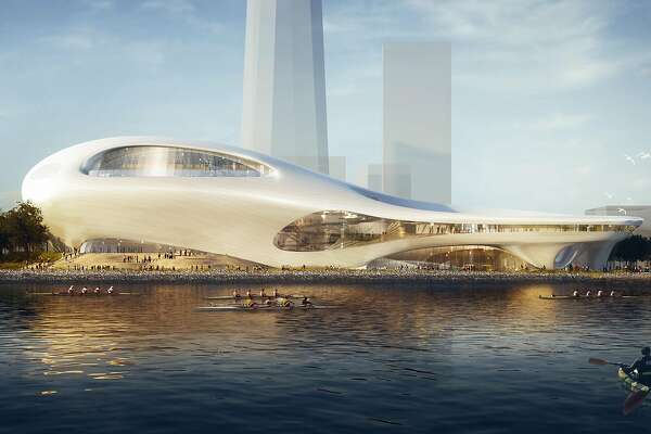 The conceptual design for the Treasure Island version of the Lucas Museum of Narrative Art. This rendering shows it amid buildings that do not yet exist, but with shapes that follow the zoning allowed in the redevelopment plans for the former military base. The design is by Ma Yansong, who worked with Zaha Hadid and founded MAD Architects in 2004. Filmmaker George Lucas also has MAD working on a Los Angeles version of the museum, and is expected to make a final decision in early 2017 on which location he will choose.