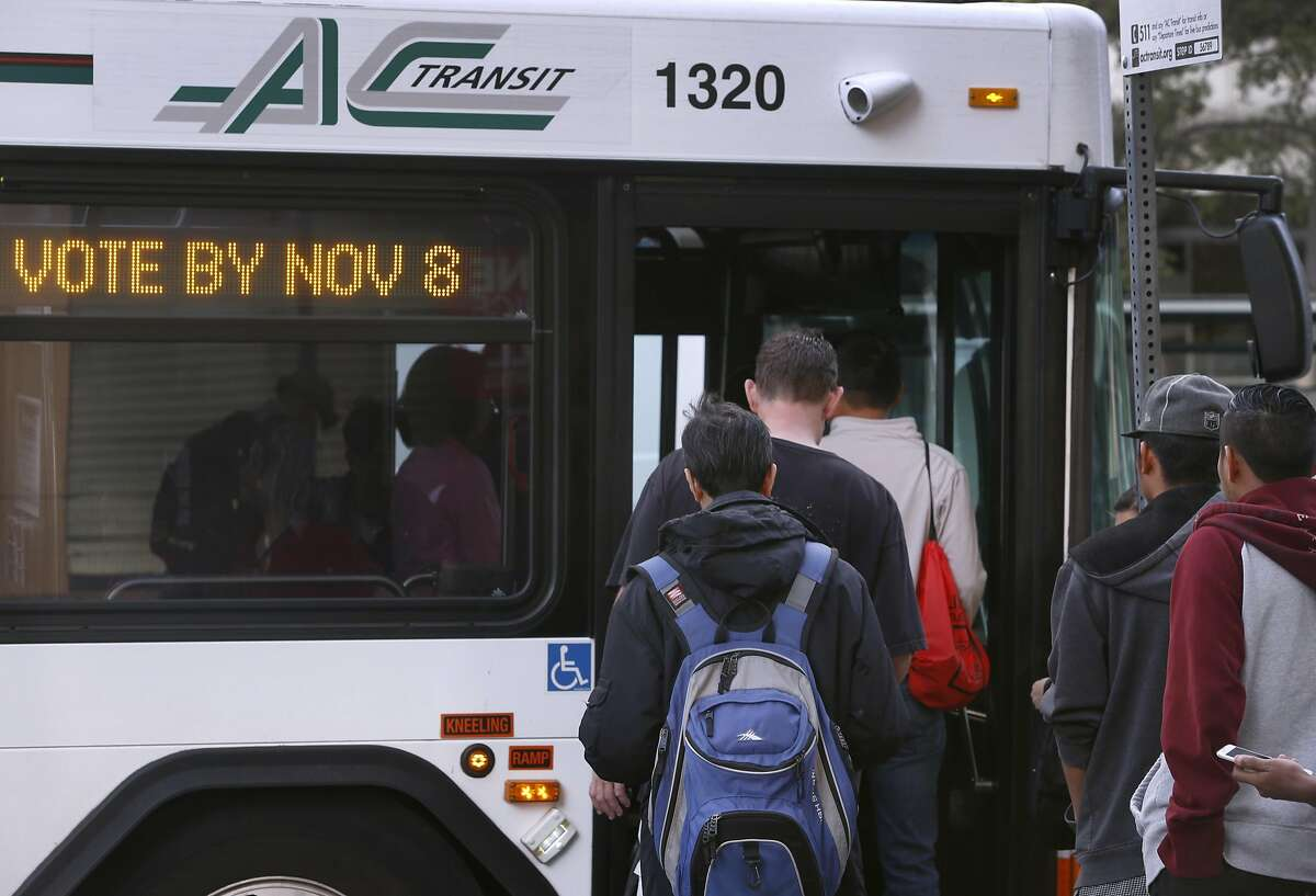 A message on an AC Transit bus reminds passengers to vote by Nov. 8 in Oakland, Calif. on Wednesday, Oct. 26, 2016. Measure C1 on the Alameda County ballot is one of several tax proposals that Bay Area voters will consider to support public transportation.