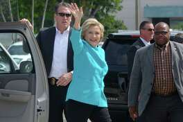 Democratic presidential nominee Hillary Clinton arrives for a campaign rally at Palm Beach State College in Lake Worth, Fla., Wednesday, Oct. 26, 2016. (Joe Cavaretta/South Florida Sun-Sentinel via AP)