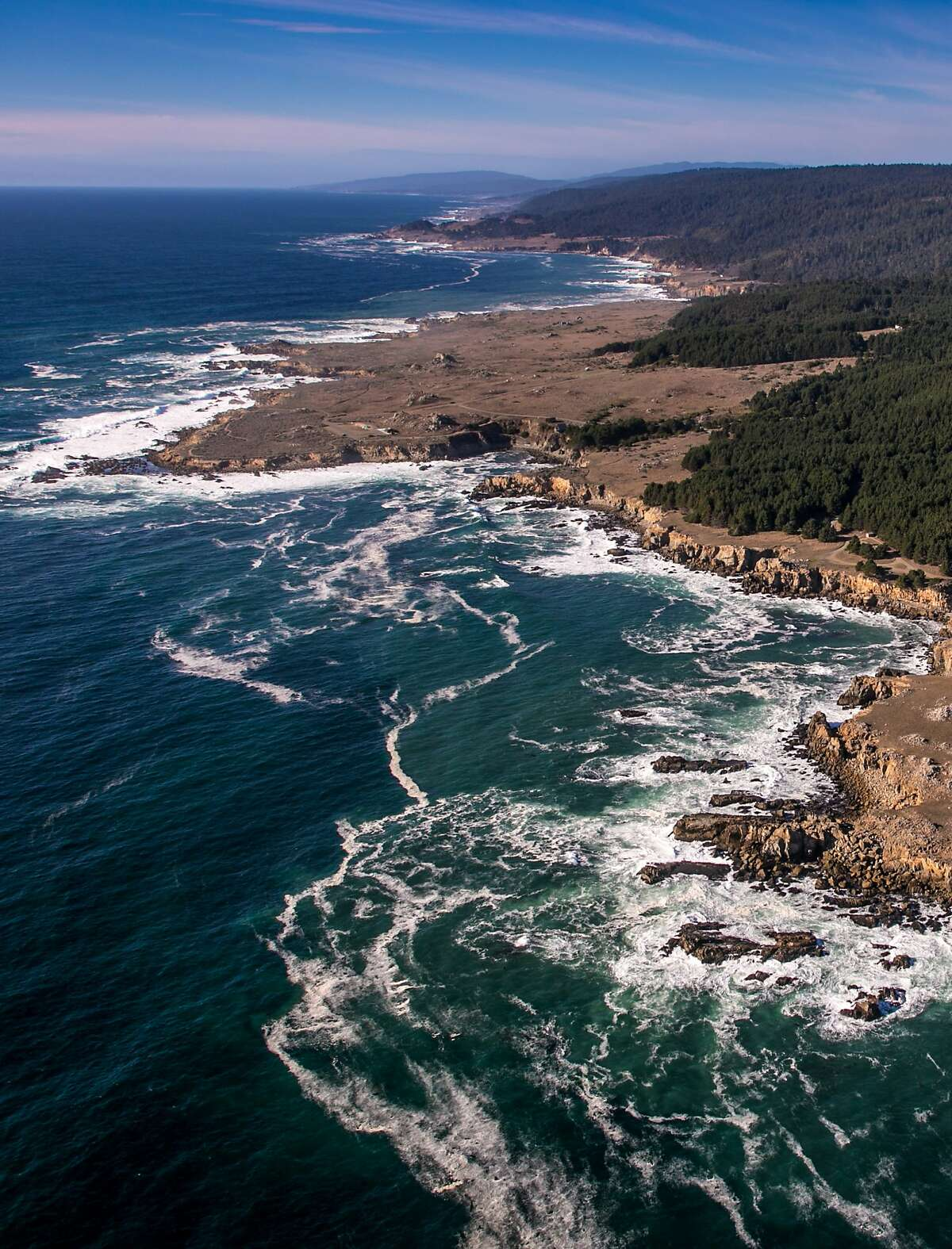 JENNER, CA - OCTOBER 21: The rocky Pacific Ocean coastline is viewed on October 14, 2014, near Jenner, California. Located one hour north of San Francisco, Sonoma County is the largest wine producer on California's North Coast and is visited by more than 7 million tourists each year. (Photo by George Rose/Getty Images)