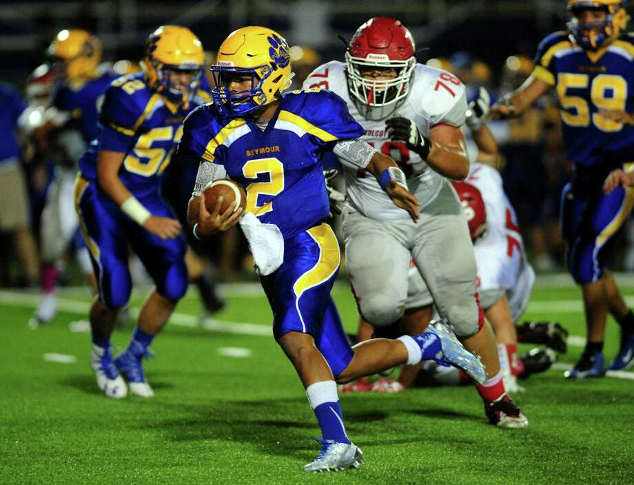 "Seymour quarterback Jaylen Kelley: ""To come out with a win Thursday,"" we really wouldn't be thinking about the loss against Wolcott."" Photo: Christian Abraham / Hearst Connecticut Media / Connecticut Post"
