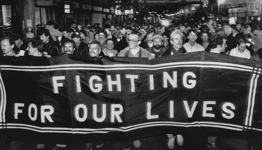 Protesters demand attention to the AIDS epidemic in January 1984, a time when the disease was devastating the gay men's community. Photo: Steve Ringman, The Chronicle