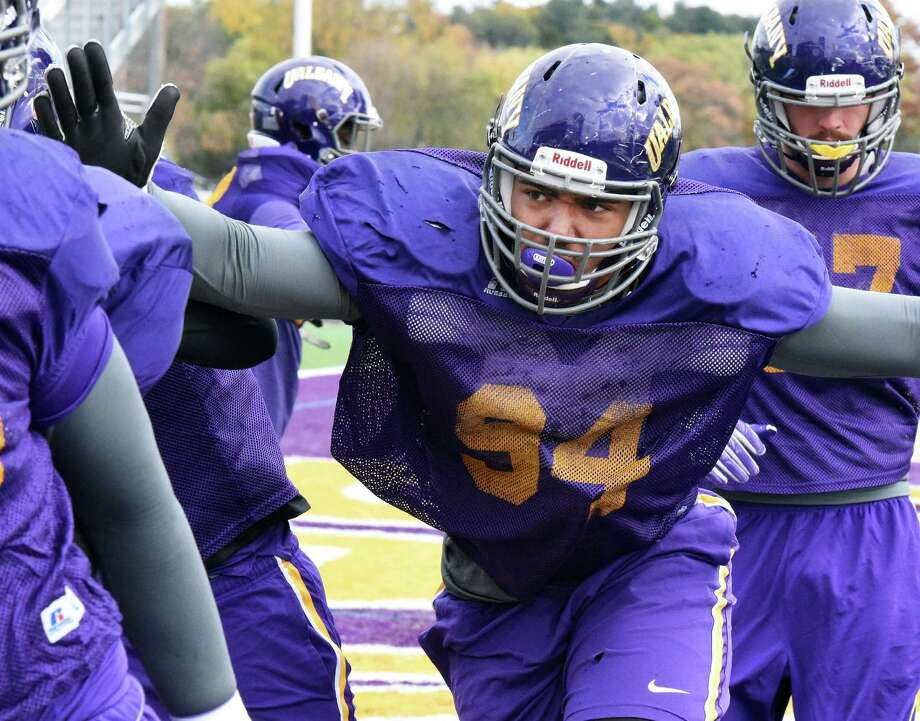 Defensive tackle #94 Nick Griffin during UAlbany football practice at Casey Stadium Wednesday Oct. 26, 2016 in Albany, NY.  (John Carl D'Annibale / Times Union) Photo: John Carl D'Annibale / 20038542A