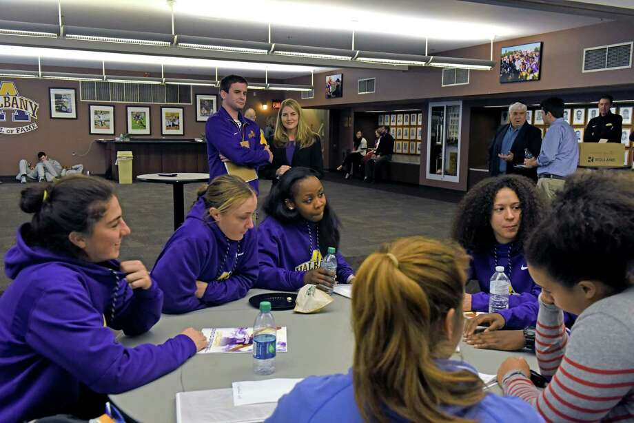 Members of the UAlbany womens basketball team wait to be interviewed during UAlbany basketball media day on Wednesday Oct. 26, 2016 in Albany, N.Y.  (Michael P. Farrell/Times Union) Photo: Michael P. Farrell / 20038550A