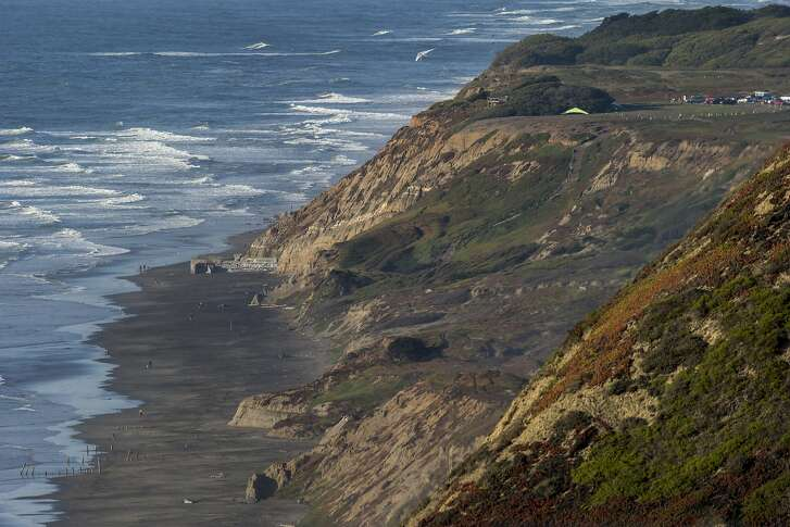 Thornton State Beach, where a dead blue whale washed ashore on Wednesday, Oct. 26, 2016 in Daly City, Calif.