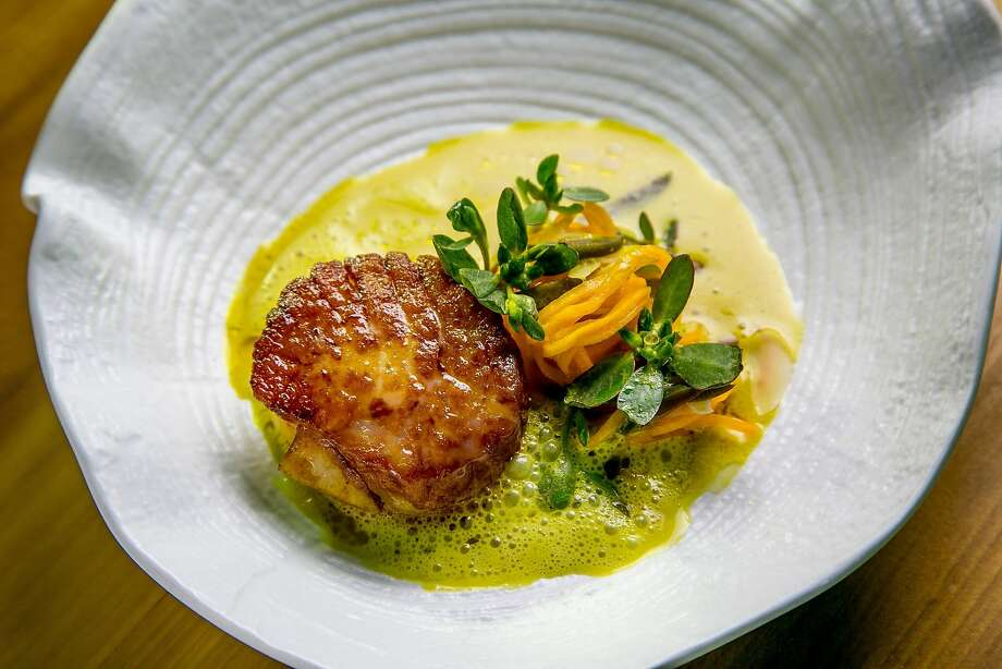 Scallop with Curried Among and Butternut Squash at Lord Stanley. Photo: John Storey, Special To The Chronicle