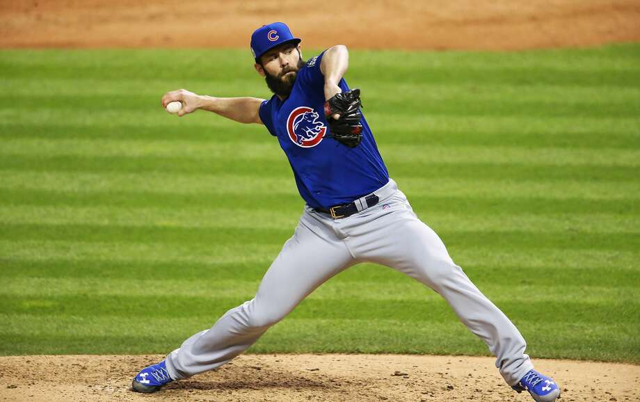 Chicago Cubs starting pitcher Jake Arrieta (49) throws in the sixth inning against the Cleveland Indians during Game 2 of the World Series on Wednesday, Oct. 26, 2016, at Progressive Field in Cleveland. The Cubs won, 5-1, to even the series. (John J. Kim/Chicago Tribune/TNS) Photo: John J. Kim, TNS