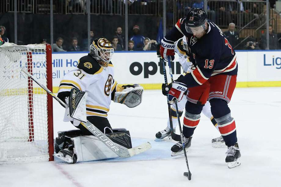 NEW YORK, NY - OCTOBER 26:  Kevin Hayes #13 of the New York Rangers scores a goal on Zane McIntyre #31 of the Boston Bruins during the second period at Madison Square Garden on October 26, 2016 in New York City.  (Photo by Michael Reaves/Getty Images) ORG XMIT: 672868551 Photo: Michael Reaves / 2016 Getty Images