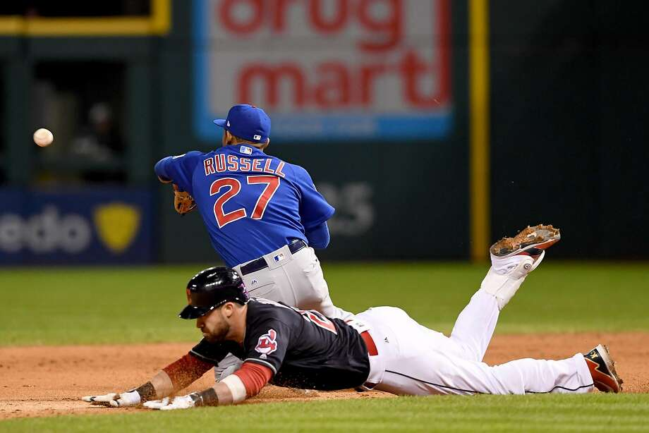 CLEVELAND, OH - OCTOBER 26:  Jason Kipnis #22 of the Cleveland Indians is safe at second base after hitting a double to break up a no-hitter by Jake Arrieta #49 of the Chicago Cubs (not pictured) during the sixth inning in Game Two of the 2016 World Series at Progressive Field on October 26, 2016 in Cleveland, Ohio.  (Photo by Jason Miller/Getty Images) Photo: Jason Miller, Getty Images