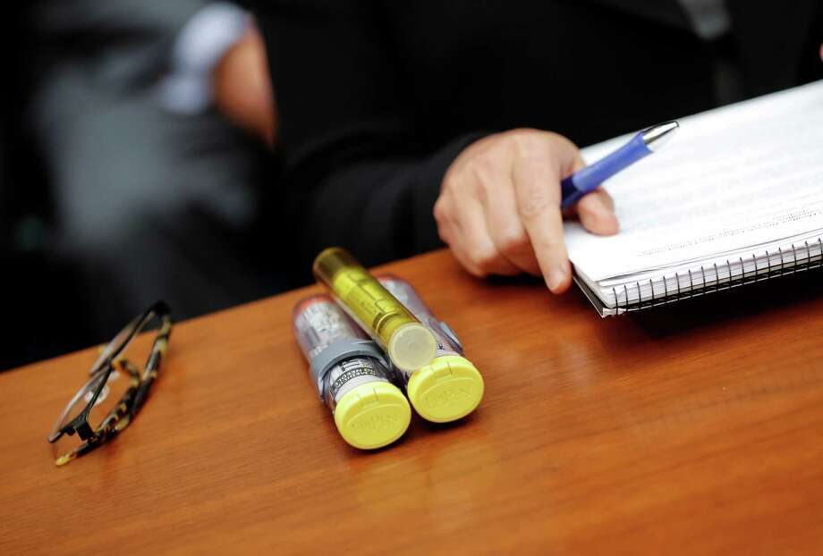 These EpiPens were brought by Mylan CEO Heather Bresch to Capitol Hill when she testified. An EpiPen alternative, Auvi-Q, will be back on the market in 2017. Photo: Pablo Martinez Monsivais, STF / Copyright 2016 The Associated Press. All rights reserved.