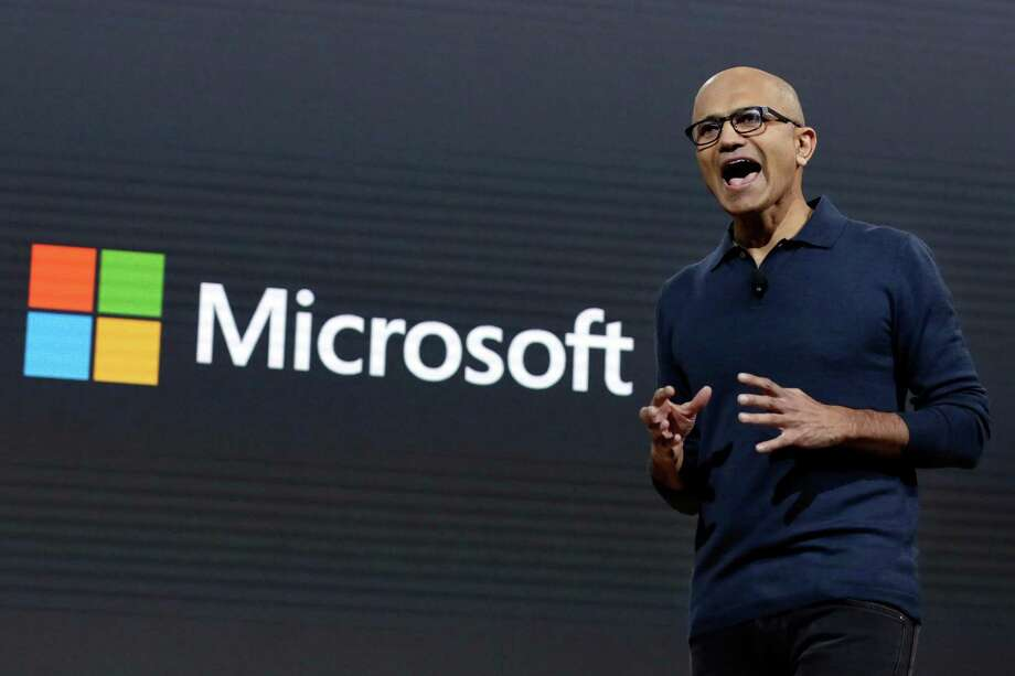 Microsoft CEO Satya Nadella addresses a Microsoft media event in New York, Wednesday, Oct. 26, 2016. Microsoft wants to bring life to common computing experiences by adding a third dimension to widely used software such as Windows and Office. (AP Photo/Richard Drew) Photo: Richard Drew, STF / AP