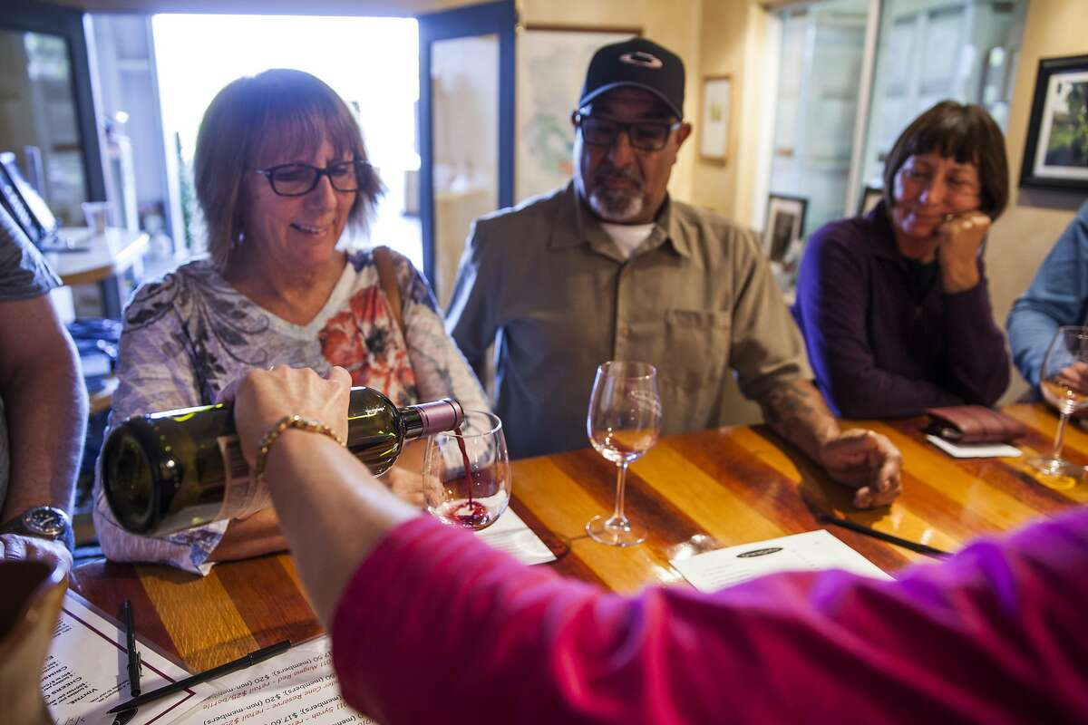 Guest tasting at the small Gregory Graham winery tasting room in Lower Lake , California, USA 22 Oct 2016. (Peter DaSilva/Special to The Chronicle)