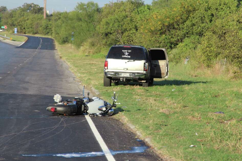 A motorcyclist is in serious condition Thursday, Oct. 27, 2016, following a two-vehicle crash on an Interstate 10 frontage road near New Braunfels Avenue.
