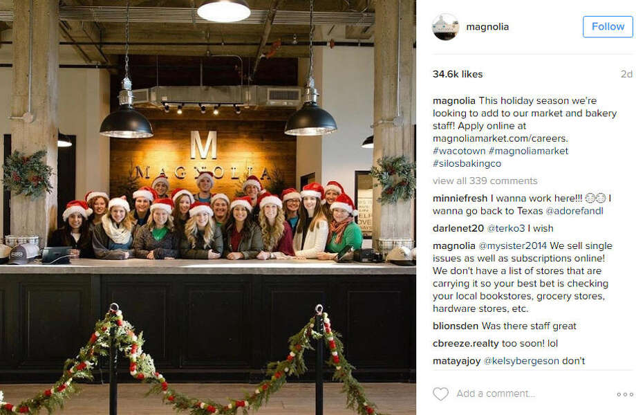 The team at Magnolia Market is hiring and this is your chance to possibly work for Chip and Joanna Gaines. Photo: Magnolia Market / Instagram