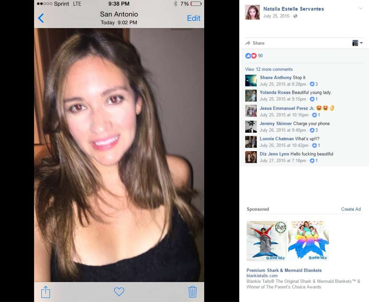 Screenshots taken from Facebook show Natalie Estelle Servantes, 28, who was found dead after chasing her towed car on the North Side. Cervantes was either dragged or struck as she was chasing a tow truck up Vista Del Norte as it carried away her vehicle, investigators said.
