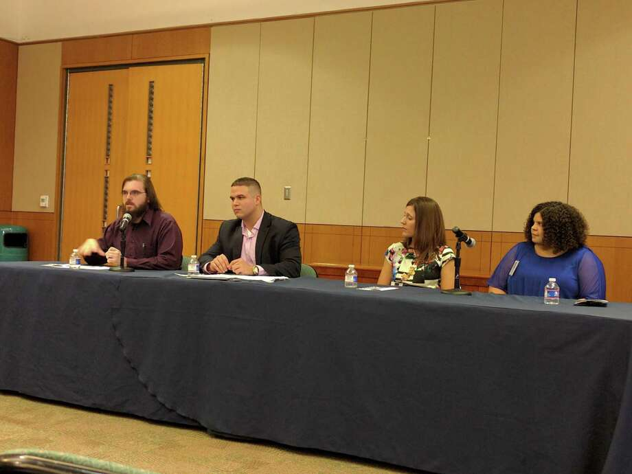 Student veterans from the University of Texas at San Antonio spoke about the challenges of transitioning into college Wednesday. From left to right: Marine veteran Jason Frazier, Navy vet Brian Houston, Army vet Brandi Cuevas, and Air Force vet Bonnie Drusky. Photo: /San Antonio Express News