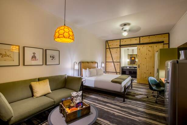Inside a room at Cavalry Court, a new retro-style hotel in Midway's Century Square development in College Station.