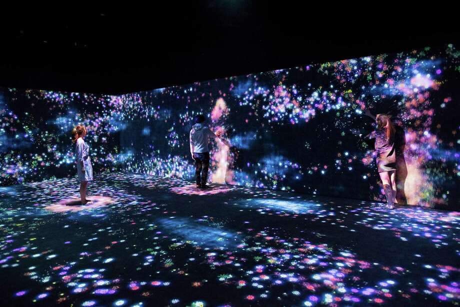"""During the Moody Center for the Arts' inaugural season, visitors to the two Media Arts Galleries will experience works by the Japanese art collective teamLab, including the interactive digital installation """"Flowers and People, Cannot be Controlled by Live Together - A Whole Year per Hour,"""" with soundbyHideaki Takahashi. Photo: TeamLab"""