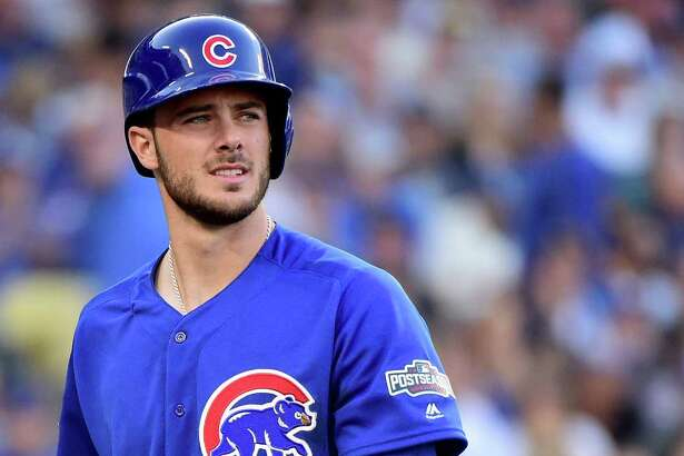 LOS ANGELES, CA - OCTOBER 18:  Kris Bryant #17 of the Chicago Cubs strikes out in the first inning against the Los Angeles Dodgers in game three of the National League Championship Series at Dodger Stadium on October 18, 2016 in Los Angeles, California.  (Photo by Harry How/Getty Images)