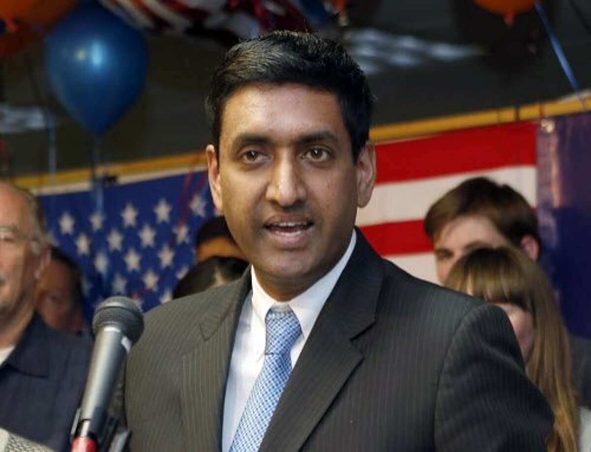 FILE - In this Nov. 4, 2014 file photo, Democrat Ro Khanna, 17th Congressional District candidate, greets supporters at his campaign headquarters in Santa Clara, Calif. He is challenging incumbent Mike Honda in the California Primary on Uune 7, 2016 (Jim Genshwimer/San Jose Mercury News via AP, File)
