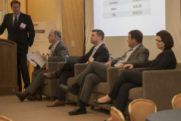 Kirk Edwards, left, moderates the panel discussion on Issues Effecting Permian Basin Operators Thursday 10-27-16 with Robert Donnelly, James Meier, Andy Deck and Kathleen Jackson during the 54th annual Permian Basin Petroleum Association meeting. Tim Fischer/Reporter-Telegram
