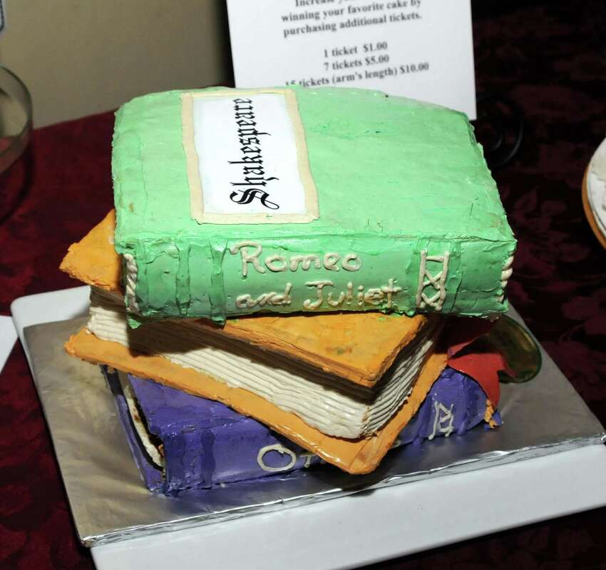 File photo from an event to benefit the Bethel Public Library Building Fund on May 6, 2010. Tickets were sold to those wanting to cast a vote for the cake that best represented Shakespeare. Loree's Catering of Bethel was the winner of the best Shakespeare cake pictured here.