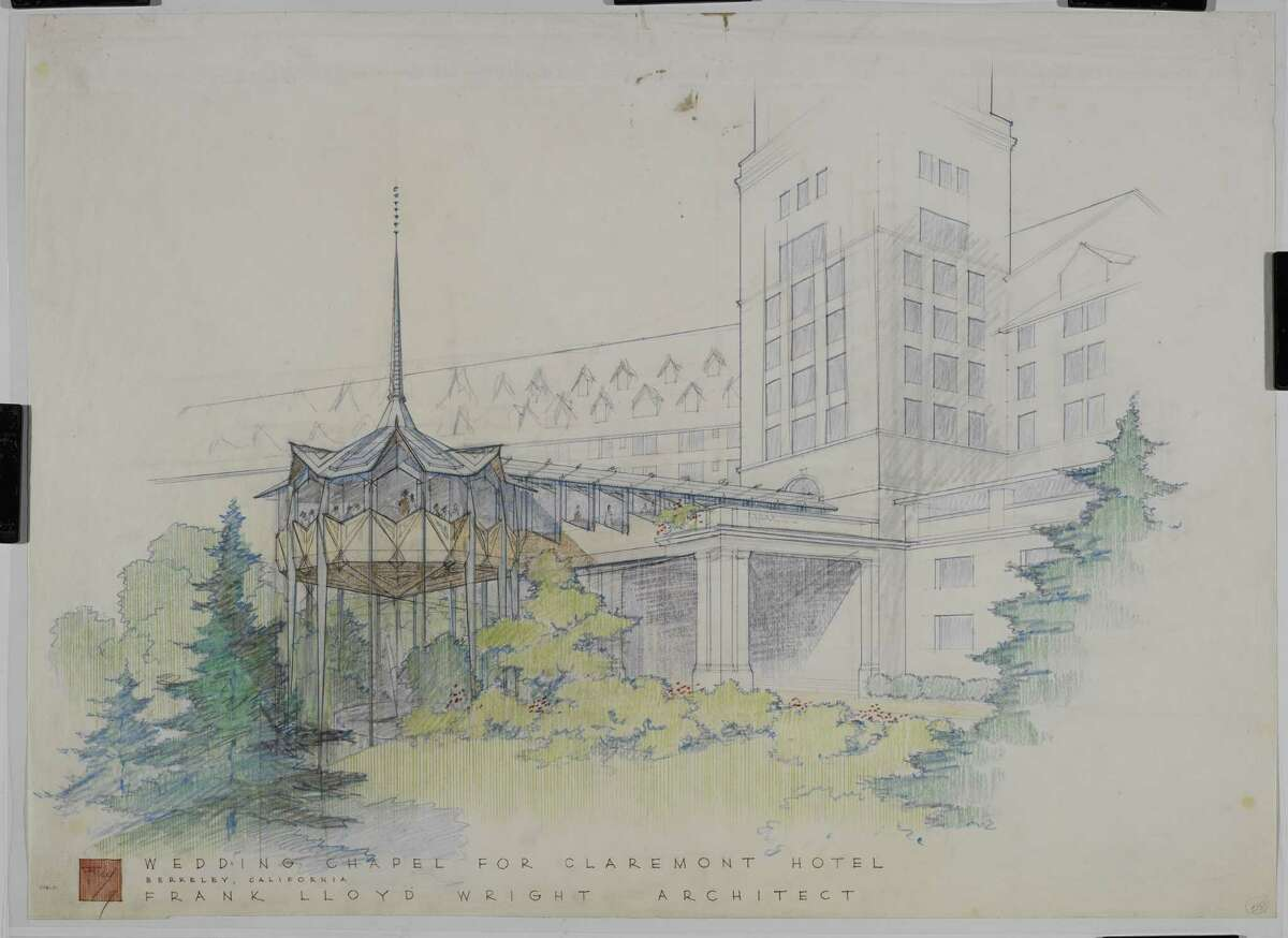 """Frank Lloyd Wright's 1957 wedding chapel for the Claremont hotel in Oakland -- alas, never built. From """"Frank Lloyd Wright and San Francisco,"""" published by Yale University Press."""
