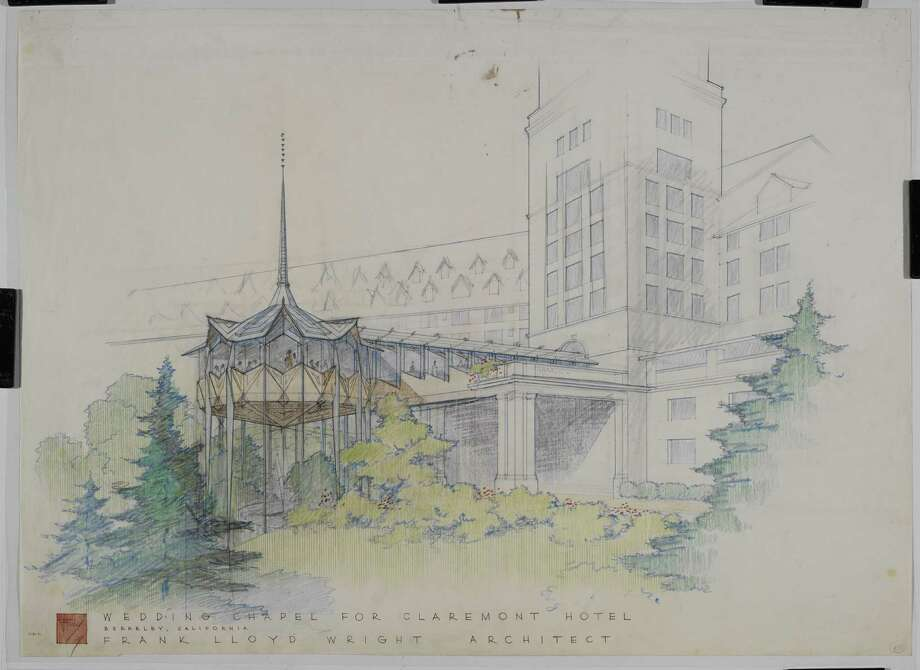 "Frank Lloyd Wright's 1957 wedding chapel for the Claremont hotel in Oakland -- alas, never built. From ""Frank Lloyd Wright and San Francisco,"" published by Yale University Press. Photo: Frank Lloyd Wright Foundation Archives (The Museum Of Modern Art / Avery Architectural & Fine Arts L"