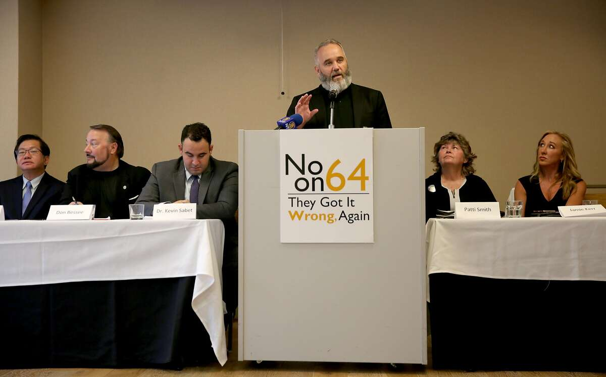 Sean Kiernan speaks about present pitfalls of Proposition 64 at the Hilton Hotel on Thursday, October 27, 2016, in San Francisco, Calif. Some of the California's most recognized medical marijuana leaders to join forces in opposing Prop 64, the ballot measure to legalize weed in the state.