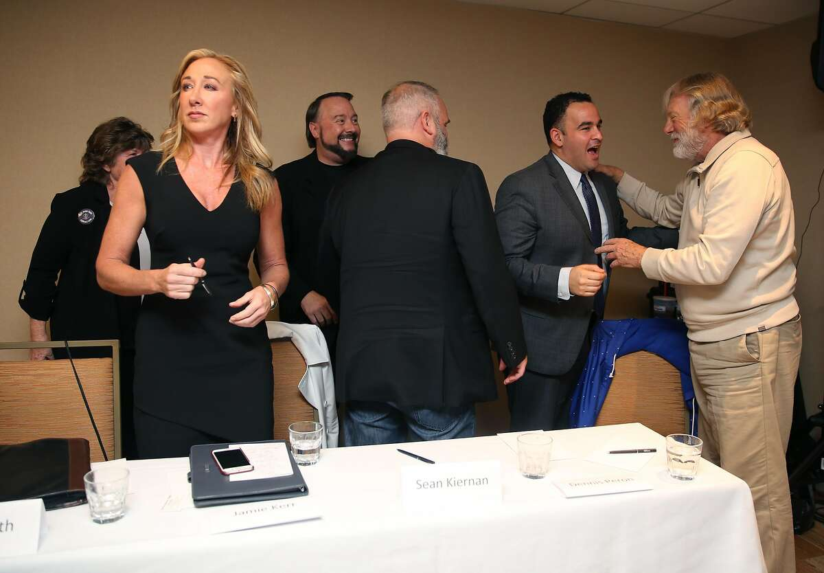 Jamie Kerr (left) spoke with others on right about present pitfalls of Proposition 64 at the Hilton Hotel on Thursday, October 27, 2016, in San Francisco, Calif. Some of the California's most recognized medical marijuana leaders to join forces in opposing Prop 64, the ballot measure to legalize weed in the state.