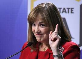 FILE - In this Oct. 5, 2016 file photo, California Senate Democratic candidate Rep. Loretta Sanchez, D-Calif. speaks during a debate against California Attorney General Kamala Harris, in Los Angeles. (AP Photo/Mark J. Terrill, File)