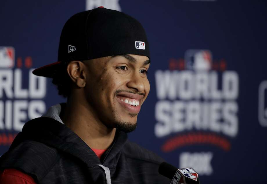 Cleveland Indians shortstop Francisco Lindor talks during a news conference before Game 2 of the Major League Baseball World Series against the Chicago Cubs Wednesday, Oct. 26, 2016, in Cleveland. (AP Photo/Gene J. Puskar) Photo: Gene J. Puskar, Associated Press