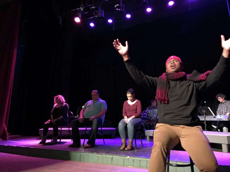 """Brandon Jones and the cast rehearse for """"Songs for a New World,"""" the first Park Playhouse production at Cohoes Music Hall."""
