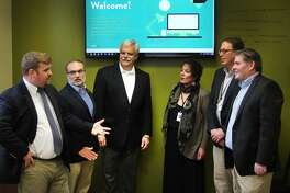 Some of the major players involved in Danbury receiving an innovation planning grant gathered Thursday, Oct. 27, 2016, at the Danbury Hackerspace to discuss the next steps of the process. The group included, left to right: PJ Prunty of CityCenter; Roger Palanzo of the Business Advocacy; state Rep. Bob Godfrey; Pauline Assenza of Western Connecticut State University; Mike Kaltschnee of Danbury Hackerspace; and Steve Bull of the Greater Danbury Chamber of Commerce.
