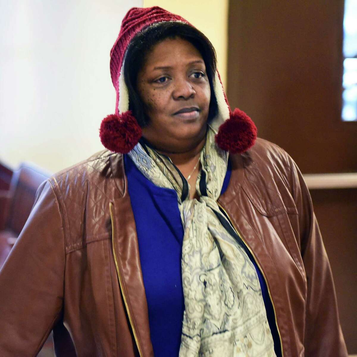 Marion Smart, wife of Rev. Edward B. Smart, who is pastor of First Israel African Methodist Episcopal Church, arrives at the Albany Judicial Center where she and her husband surrendered to authorities Thursday Oct. 27, 2016 in Albany, NY. (John Carl D'Annibale / Times Union)